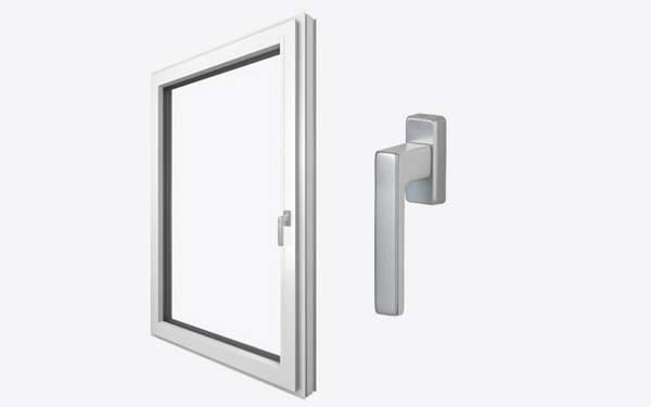 Fenster innen, Innenansicht Fenster, geradlinig, Griff, Fenstergriff, Kunststoff, Kunststoff-Fenster